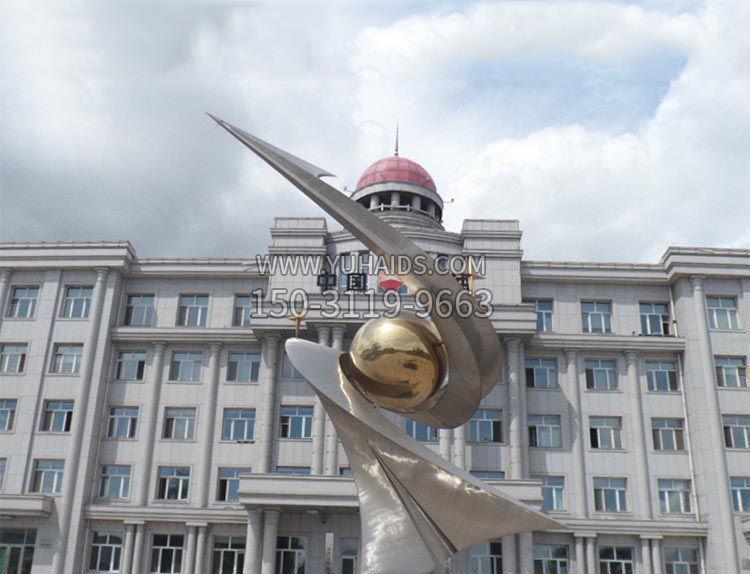 广场大型不锈钢创意抽象球组合雕塑