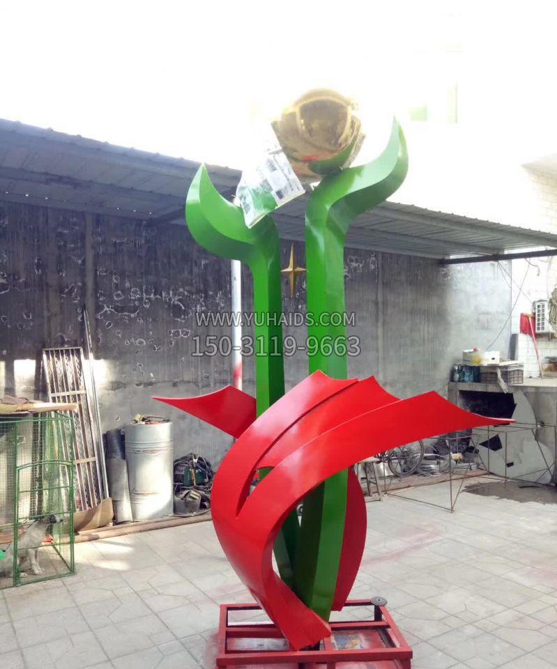 不锈钢中国结标语牌雕塑