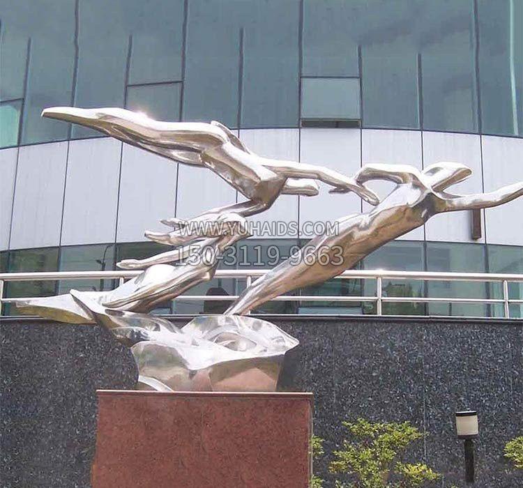 不锈钢公园鲤鱼群雕塑