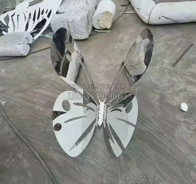 不锈钢现代镜面仙鹤雕塑