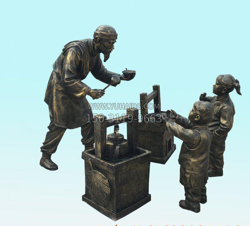 卖货郎人物铜雕