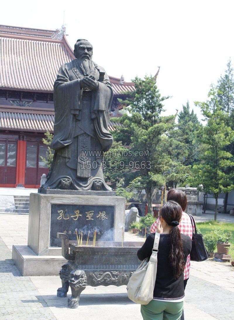 青铜古代名人孔子雕塑
