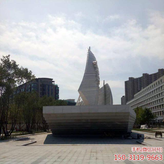 北京萧太后河船帆不锈钢雕塑22