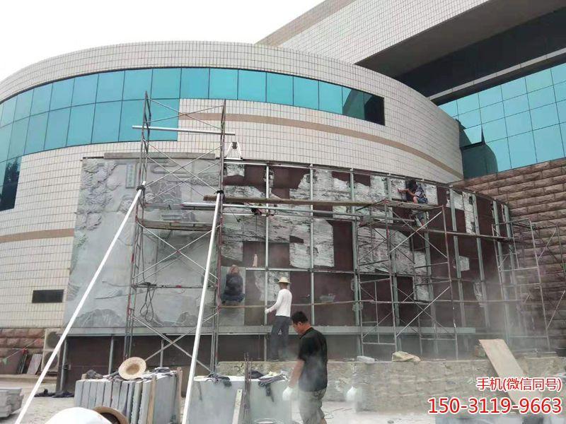 邢台职业技术学院图书馆外墙浮雕项目-施工
